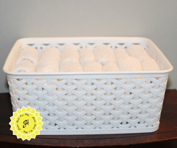 basket with folded washclothes