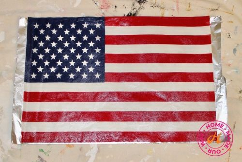 image of American flag on aluminum foil