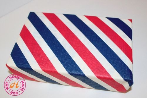image of wrapped box in stripes pattern