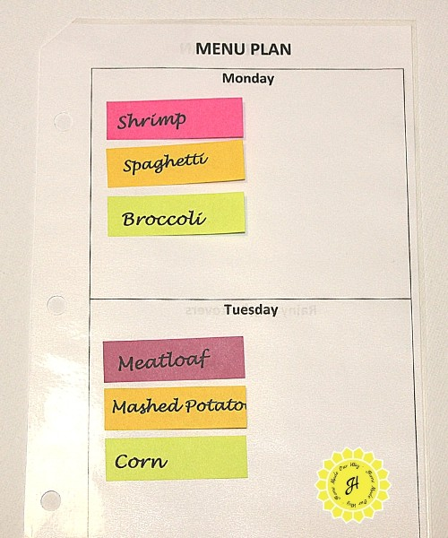 Daily Menu Planner Pages