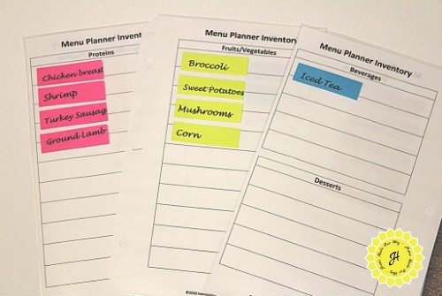 menu planner inventory pages with Post-It page markers