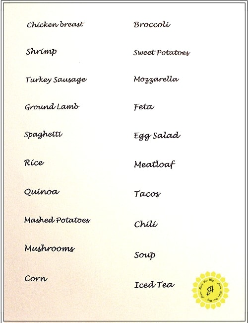 Food Categories Template