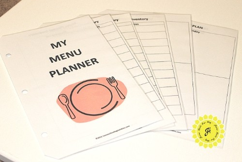menu planner array of mini pages