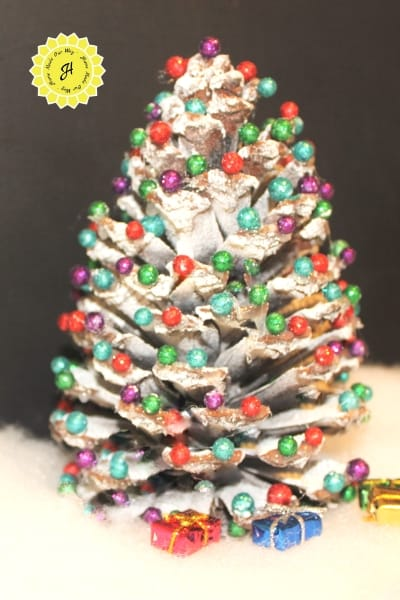 pine cone christmas trees with ornaments
