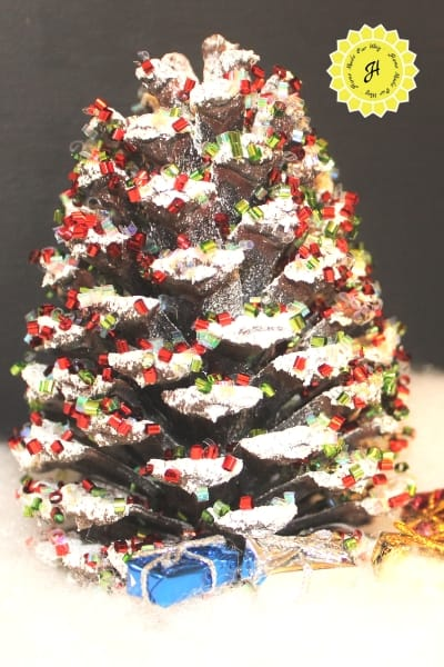 glitter pine cone Christmas trees