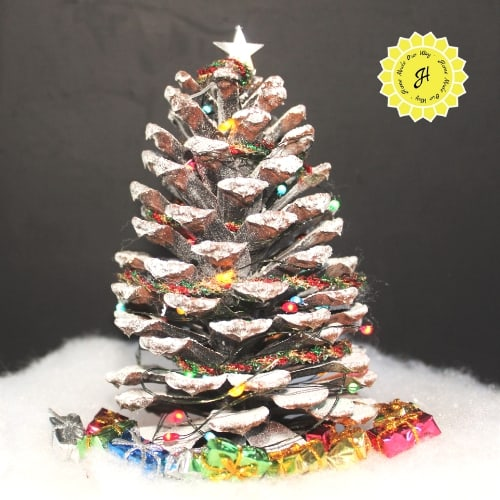 miniature pine cone christmas trees with star topper