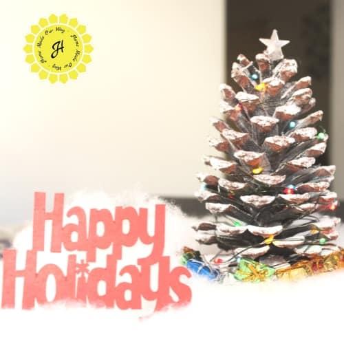 pine cone christmas trees scene