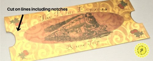 Polar Express ticket cut out on gold paper