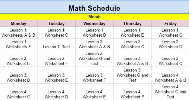 Homeschool Schedule for Math