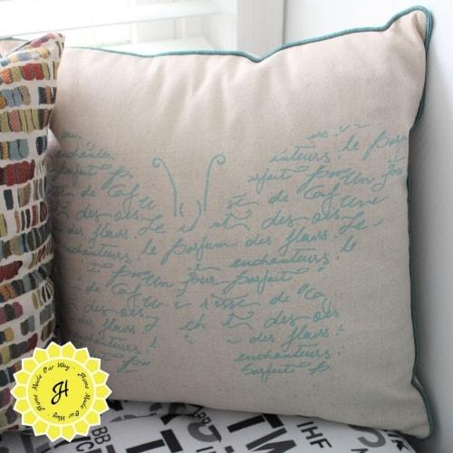 butterfly script pillow