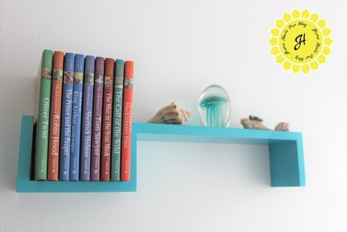 bookshelf in reading nook