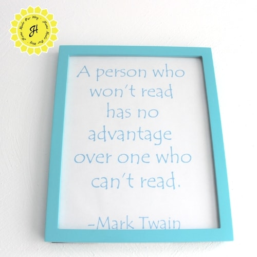framed reading quote for reading nook