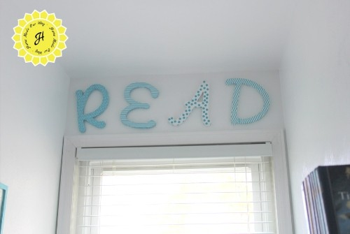 Wooden Letters Decor for the Reading Nook above the window frame