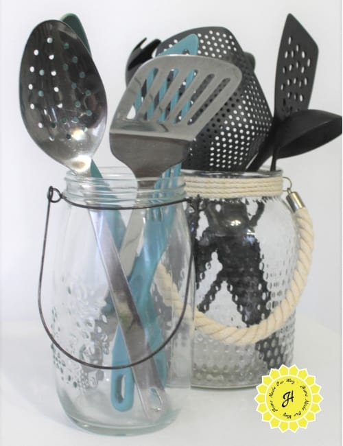 kitchen utensils in jars