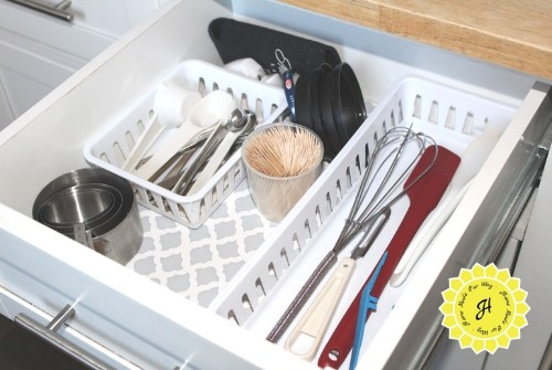 prep station utensil drawer in island