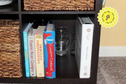 cookbooks in cube organizer