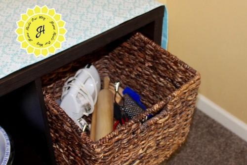 kitchen gadget in cube organizer basket