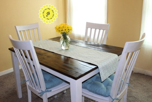 after picture of dining room table after some DIY
