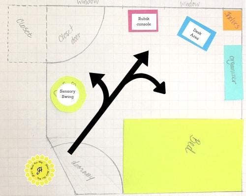 graph floor plan of kids' room after