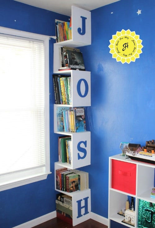 Tower bookshelf fitted into corner