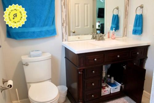 vanity and toilet in kids bathroom