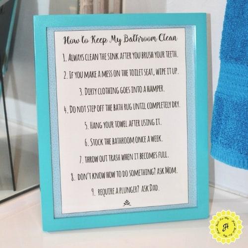 framed set of rules for kids' bathroom