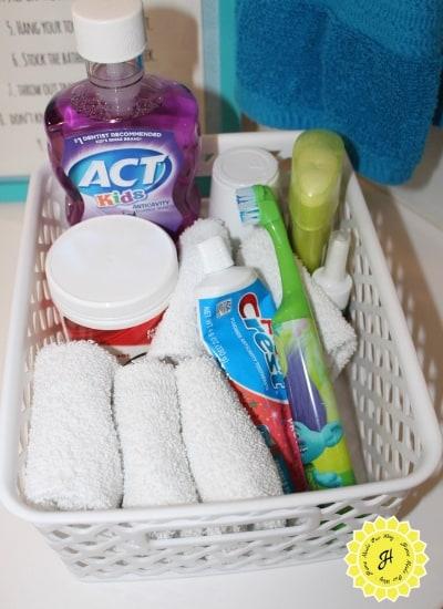 basket with kids' toiletries