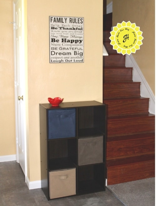 cube organizer in entryway