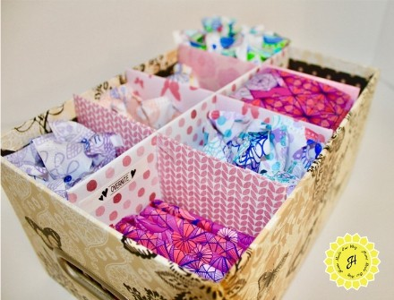 side view for feminine products organizer box