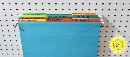 office file holder on pegboard
