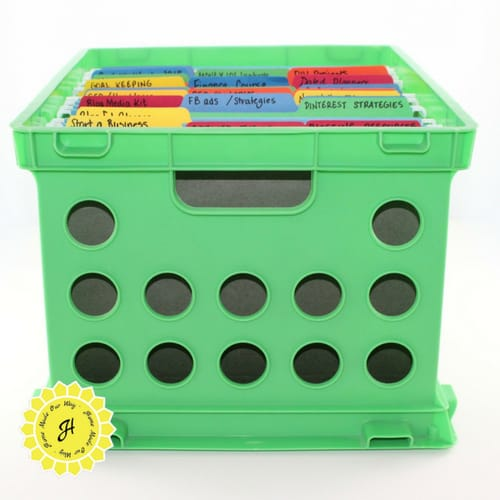 green crate with file folders