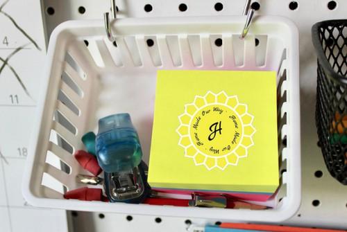 pegboard basket organizer with school supplies