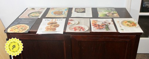 recipes on table sorted by categories