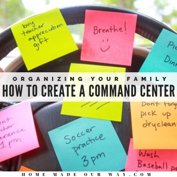 Learn how to put together a family command center that works for your family and home. | organize | schedule | routine | time management | chores | to-do list | time saver | space saver | system | productivity | checklists | menu | shopping list | meal planner | #organize #time #management