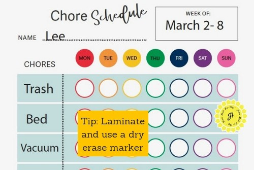 image of the chore schedule sheet for home management binder