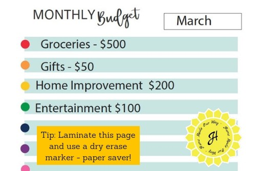image of the monthly budget sheet for home management binder