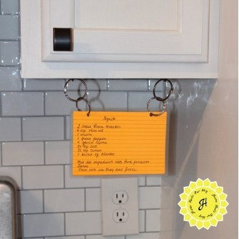 hanging index card recipe from under cabinet