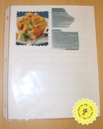 recipe taped onto paper