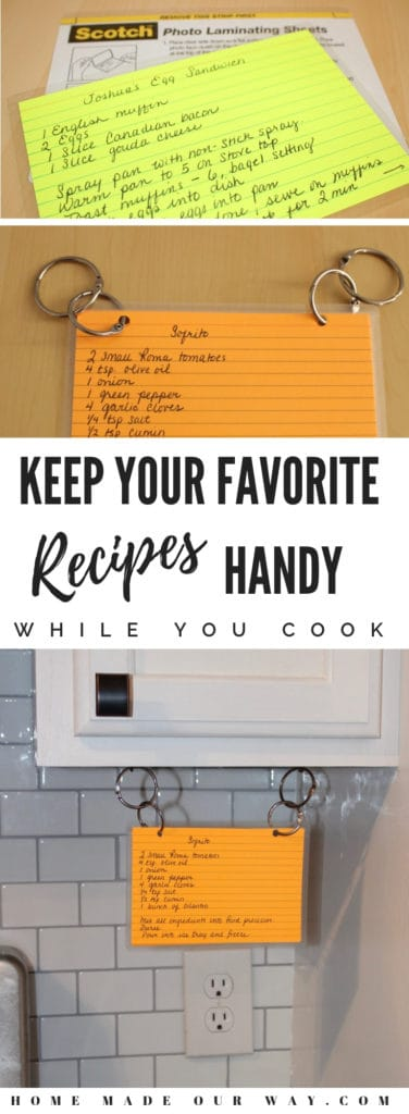 Organize your recipes and learn how to create a hidden but handy recipe display | binder | index cards | ideas | DIY | best way | from magazines | box | #recipe #display #organization
