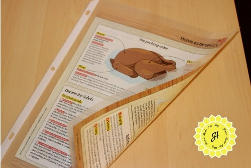 magazine recipe placed in page protector