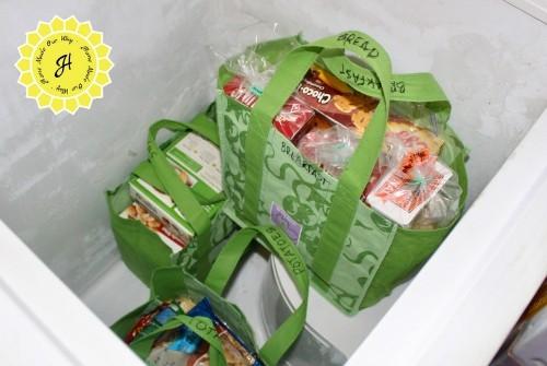 frozen foods in reusable bags