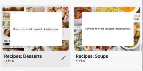 Multiple recipe boards in Pinterest