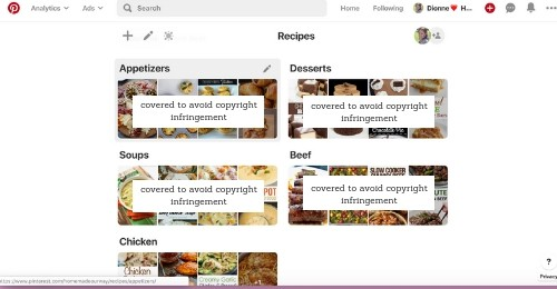 Food category sections in Pinterest recipe board