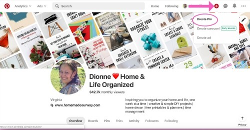 Adding Canva recipe board cover into Pinterest's Create a Pin option