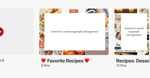 Favorite recipe board in Pinterest with heart emojis