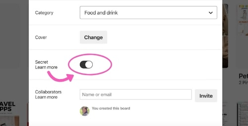 Secret toggle button on Pinterest recipe board