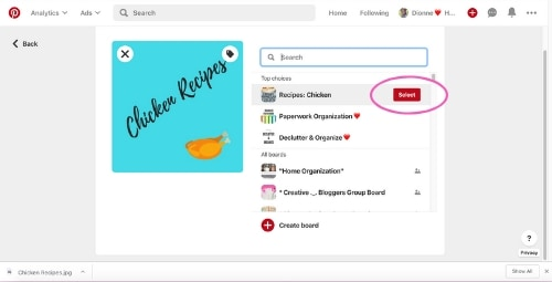 Uploaded Canva image for digital recipes board cover and board options