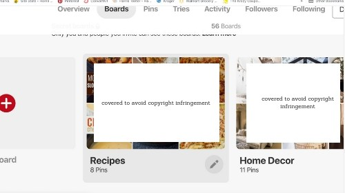 Recipe board in Pinterest