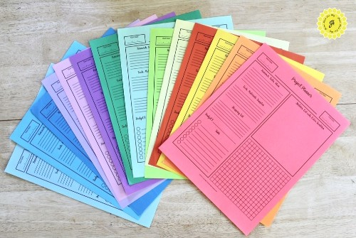 array of project planners in different colors