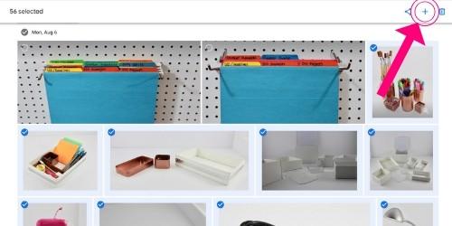 Google Photos create an album button